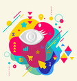 Eye on abstract colorful spotted background with vector image