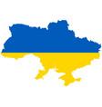 flag in map ukraine vector image vector image