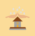 flat icon on stylish background hand house rain vector image vector image