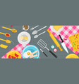 flat kitchenware utensils and food on wooden vector image vector image