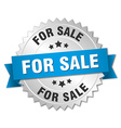 for sale 3d silver badge with blue ribbon vector image vector image