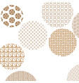geometric golden patterns formed circles on white vector image vector image