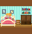 girl reading book on her bed vector image vector image