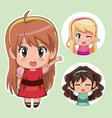 green color set cute anime tennagers girl in dress vector image vector image