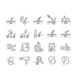 hair loss treatment colored flat line icons set vector image