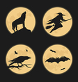 halloween characters moonlight silhouettes vector image