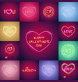 happy valentines day neon set vector image vector image