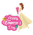 happy womens day girl flowers vector image vector image