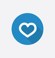 heart Flat Blue Simple Icon with long shadow vector image vector image