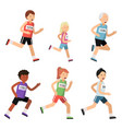 jogging marathon sport people different ages vector image vector image