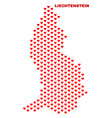 liechtenstein map - mosaic of lovely hearts vector image vector image