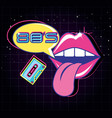 lips pop art with cassette eighties style vector image