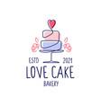 love cake wedding bakery logo icon vector image vector image