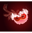 luxurious red mask with a veil vector image vector image