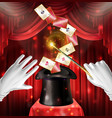 magic show trick with cards flying out black hat vector image vector image