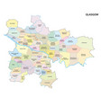 map scottish city glasgow with all neighborhoods vector image vector image