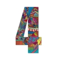 Number 4 with hand drawn abstract doodle pattern vector image vector image