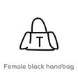 outline female black handbag icon isolated black vector image vector image