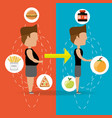 person with after and before of boby silhouette vector image vector image