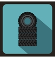 Pile of black tires icon flat style vector image