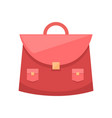 red schoolgirl bag with metal clip and two pockets vector image vector image