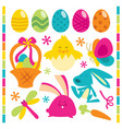 retro happy easter set vector image vector image