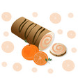 roll cakes with orange fruits sweets vector image