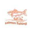 salmon fishing mono line logo design inspiration vector image