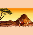 scene with many animals in savanna field vector image