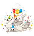 seal group in party theme cartoon character on vector image
