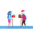 senior couple with stick giving each other gift vector image vector image