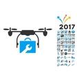 Service Drone Icon With 2017 Year Bonus Symbols vector image vector image
