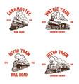 set emblem templates with hand drawn retro vector image