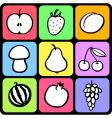 set of stylised fruit vector image
