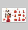 set pumpkins for halloween halloween symbols vector image