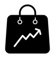 shopping bag with a graph solid icon package bag vector image vector image