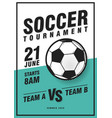 Soccer tournament poster template with ball grass