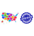 social network map of usa territories with message vector image
