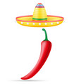 sombrero national mexican headdress and peper vector image vector image