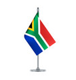 south african flag hanging on the metallic pole vector image