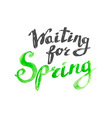 Spring watercolor hand-drawn lettering vector image