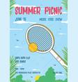 summer picnic vertical poster trendy retro vector image vector image