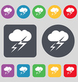 Weather icon sign A set of 12 colored buttons Flat vector image