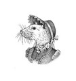 white mouse in hat and suit victorian lady vector image