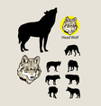 Wolf Silhouettes and Logo vector image
