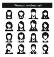 woman avatars set in black simple style vector image vector image