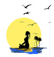 young woman practicing yoga meditation vector image