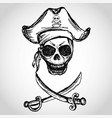 pirate skull with hat and crossed swords vector image