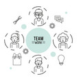 monochrome infographic of team work with half body vector image