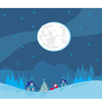 Winter landscape with houses and Santa vector image